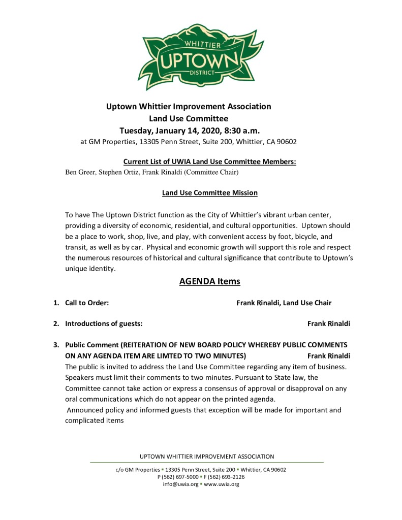 thumbnail of Land Use Committee Meeting Agenda Packet 01-14-2020