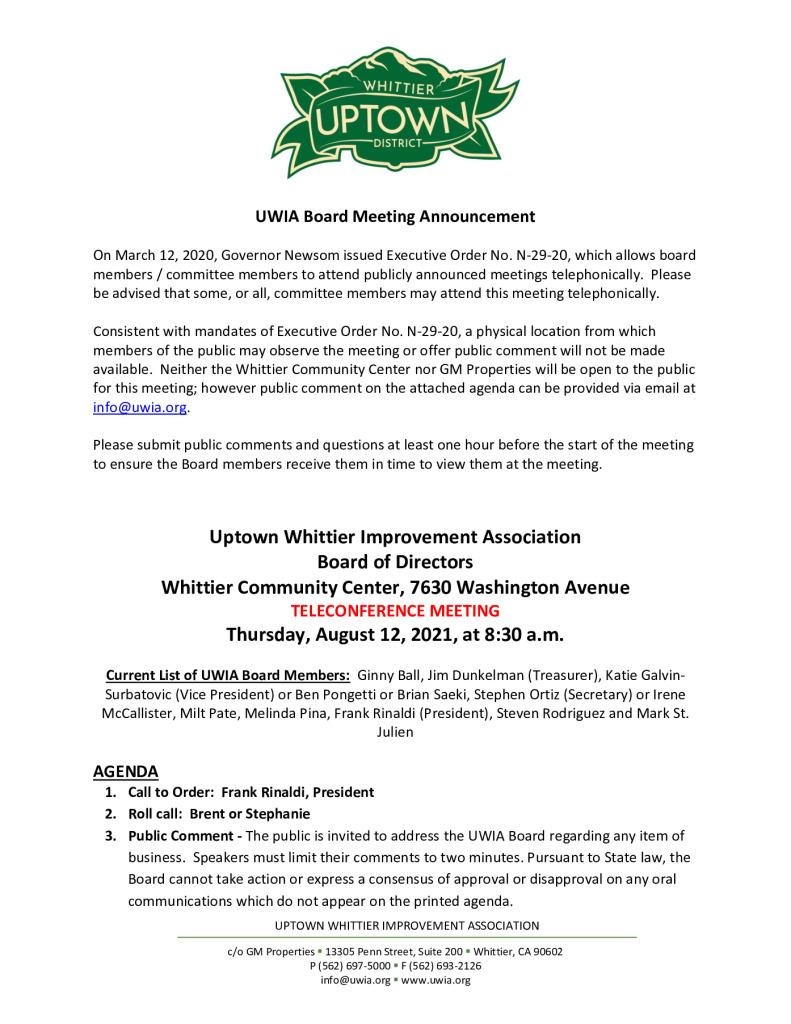 thumbnail of UWIA Board Meeting Agenda Packet 08-06-2021