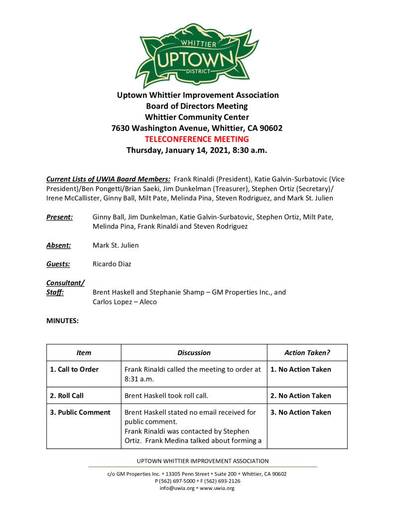 thumbnail of UWIA Board Meeting Minutes 01-14-2021 final