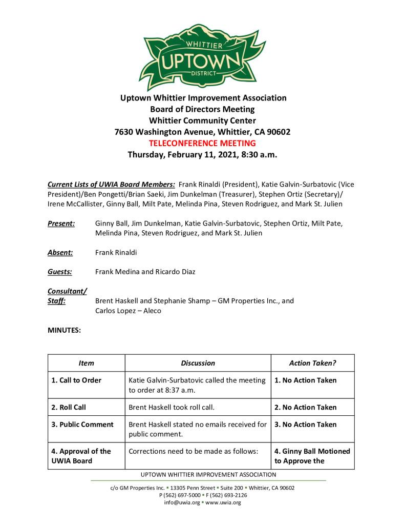 thumbnail of UWIA Board Meeting Minutes 02-11-2021 final