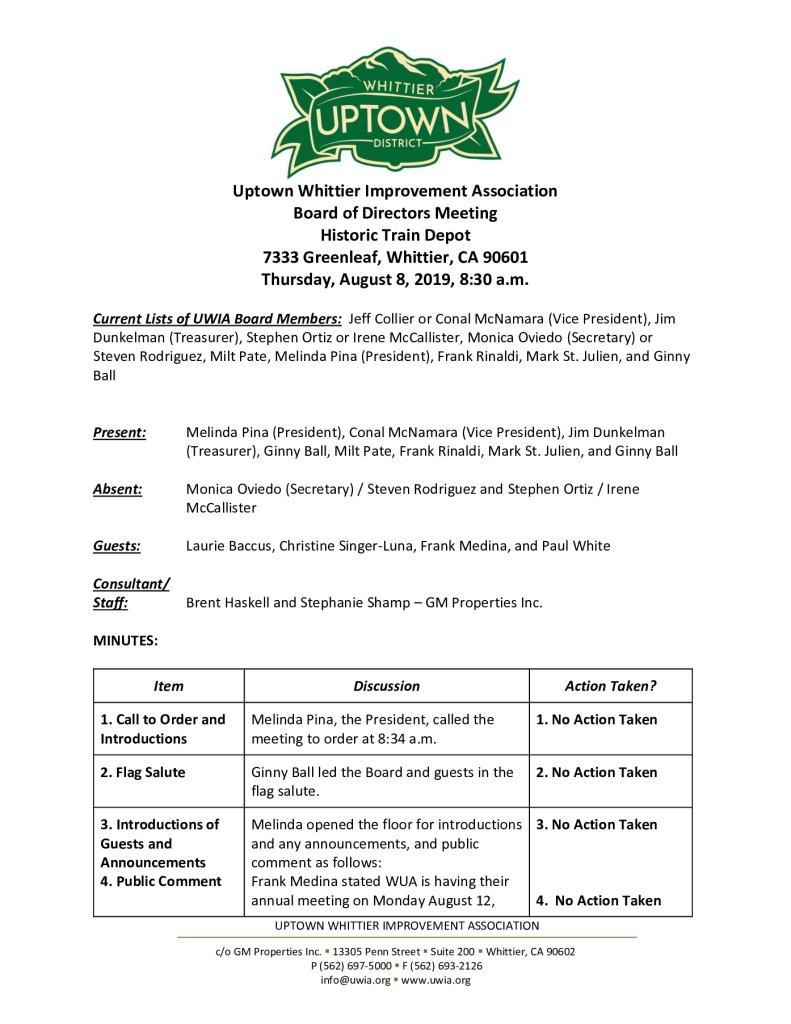 thumbnail of UWIA Board Meeting Minutes 08-08-2019 final
