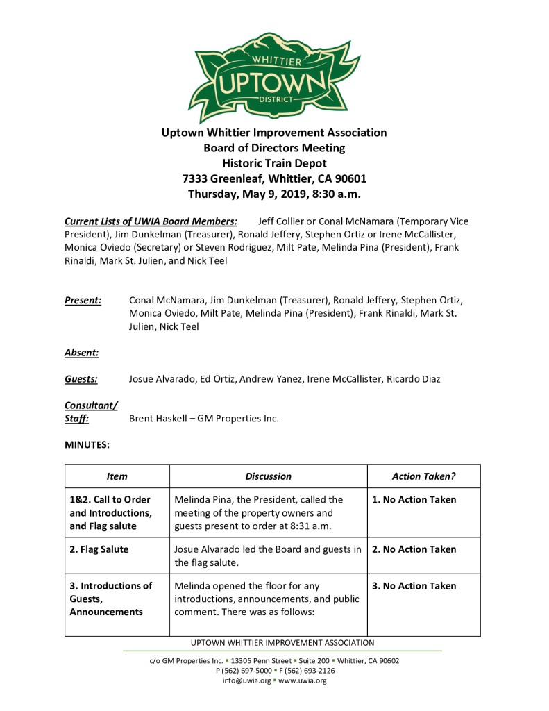 thumbnail of UWIA Board Minutes 05-09-2019 final