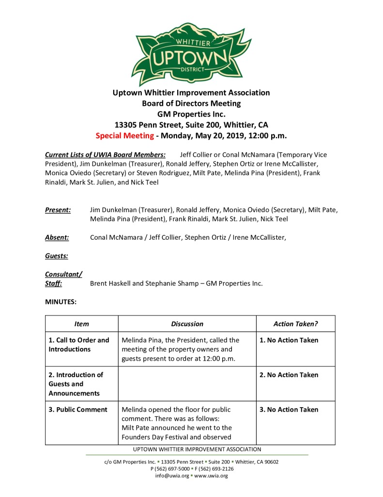 thumbnail of UWIA Board Special Meeting Minutes 05-20-2019 final