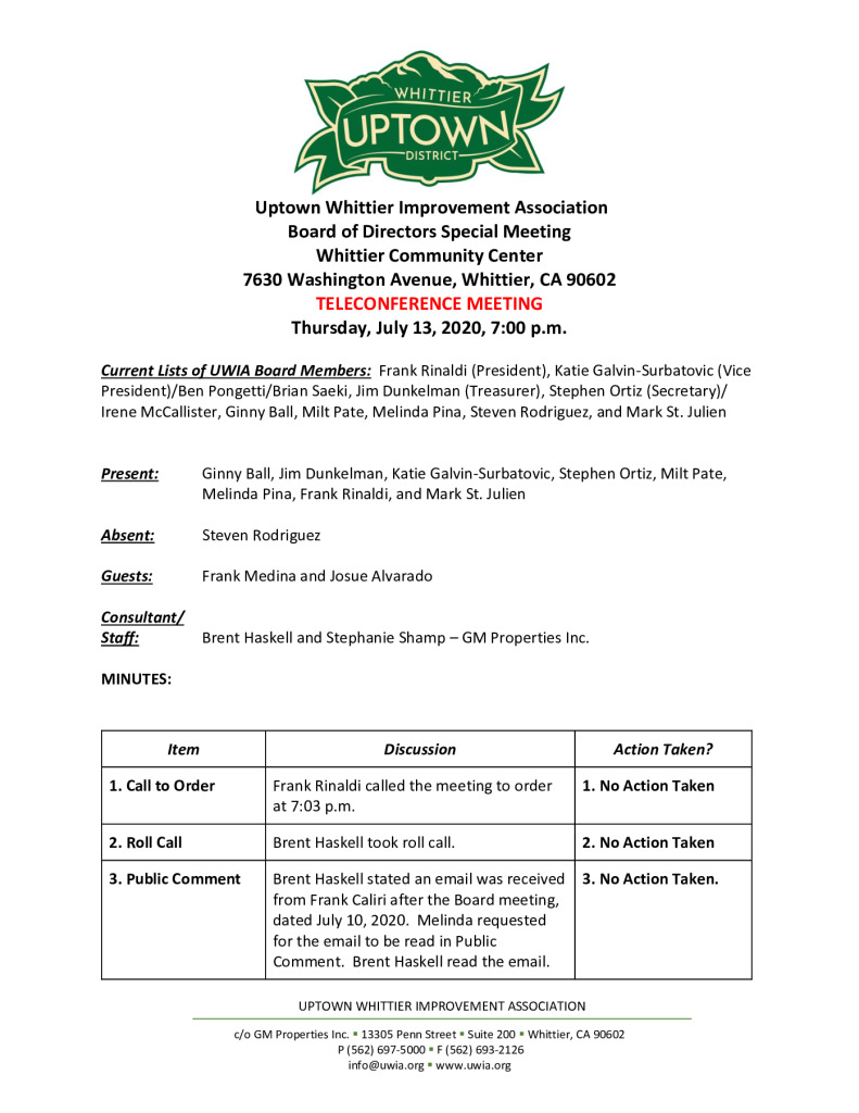 thumbnail of UWIA Board Special Meeting Minutes 07-13-2020 final