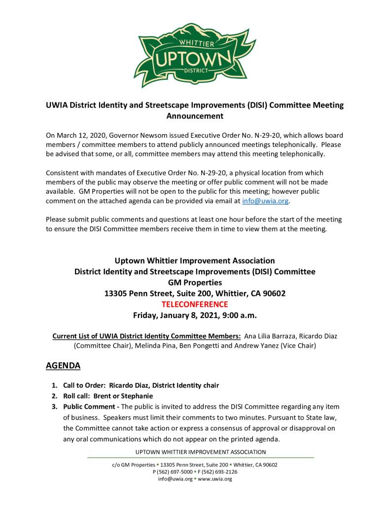 thumbnail of UWIA DISI Committee Meeting Agenda Packet 01-08-2021