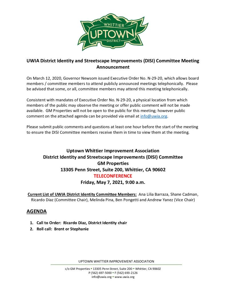 thumbnail of UWIA DISI Committee Meeting Agenda Packet 05-07-2021