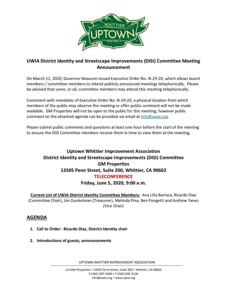 thumbnail of UWIA DISI Committee Meeting Agenda Packet 06-05-2020
