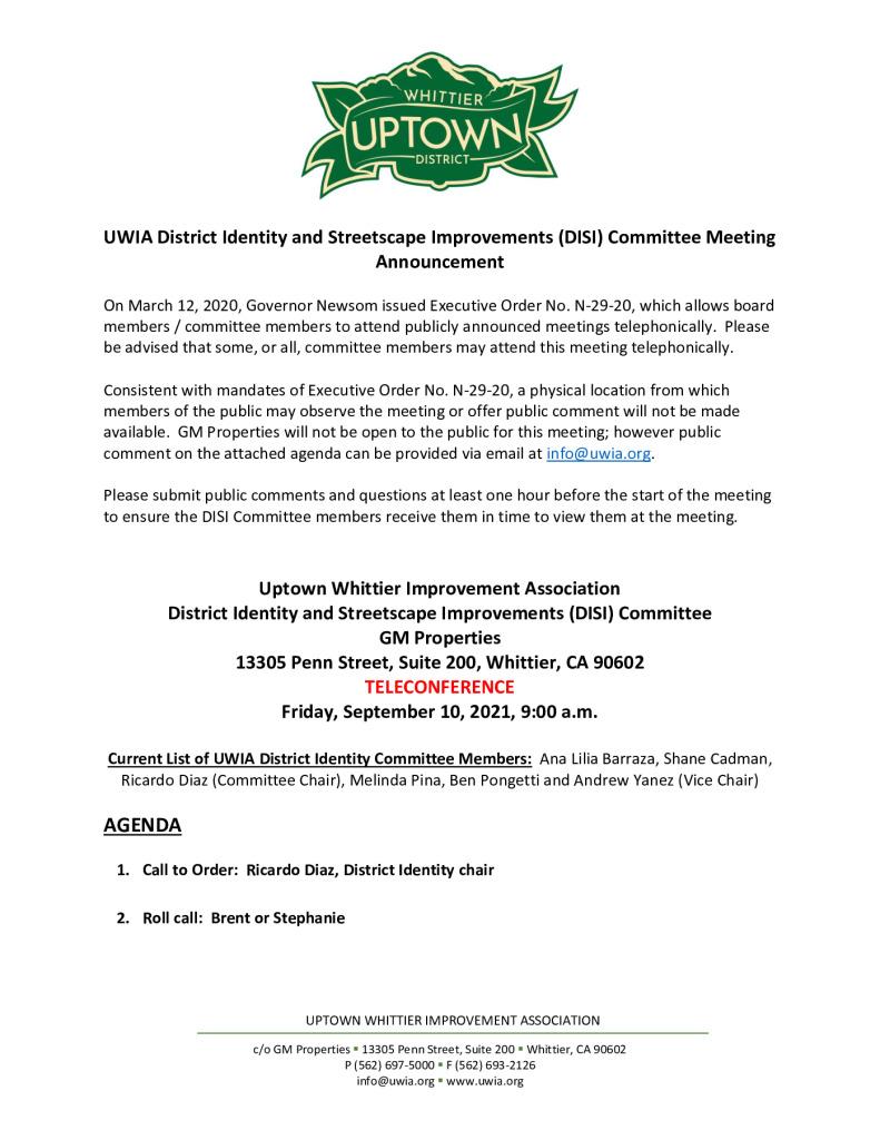 thumbnail of UWIA DISI Committee Meeting Agenda Packet 09-10-2021