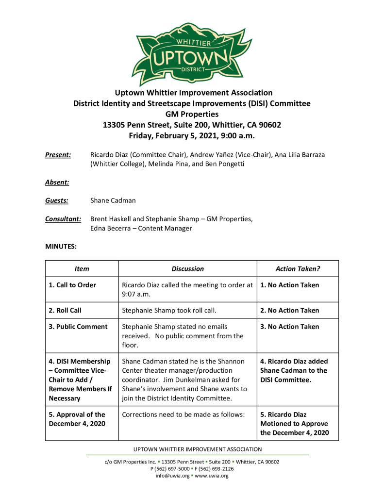 thumbnail of UWIA DISI Committee Meeting Minutes 02-05-2021 final