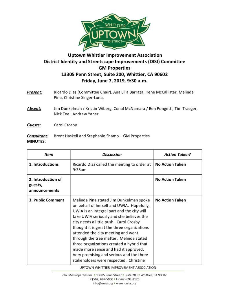 thumbnail of UWIA DISI Committee Meeting Minutes 06-07-2019 final