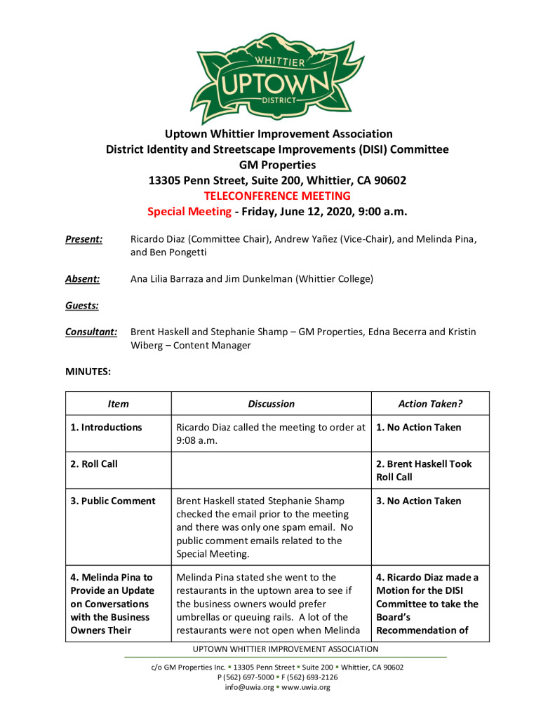 thumbnail of UWIA DISI Committee Special Meeting Minutes 06-12-2020 final