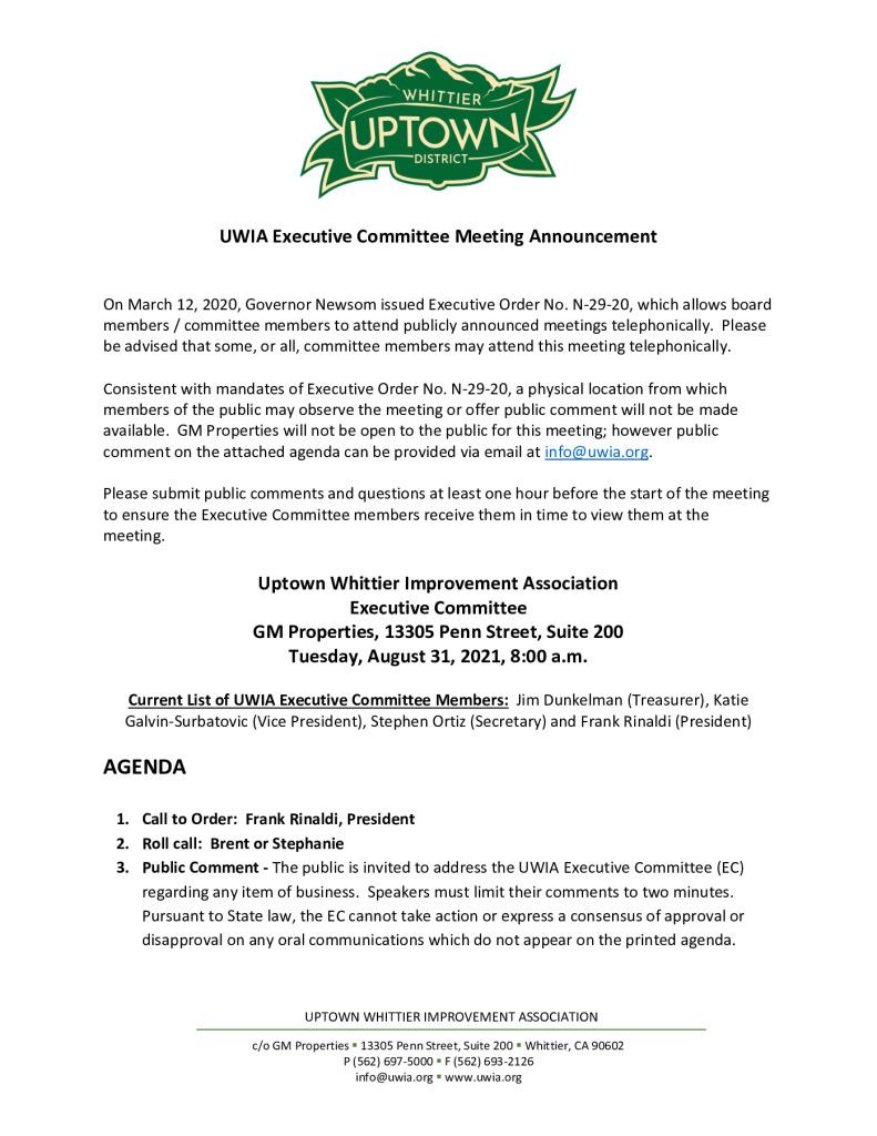 thumbnail of UWIA Executive Committee Meeting Agenda Packet 08-31-2021