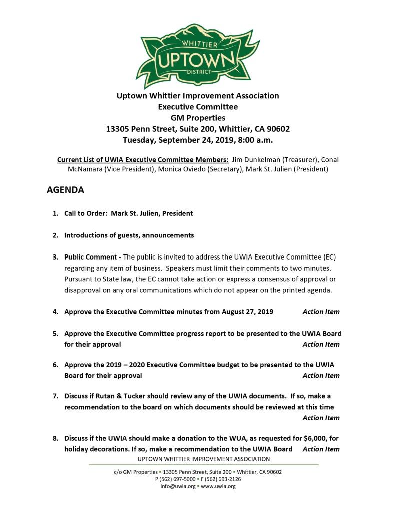 thumbnail of UWIA Executive Committee Meeting Agenda Packet 09-24-2019