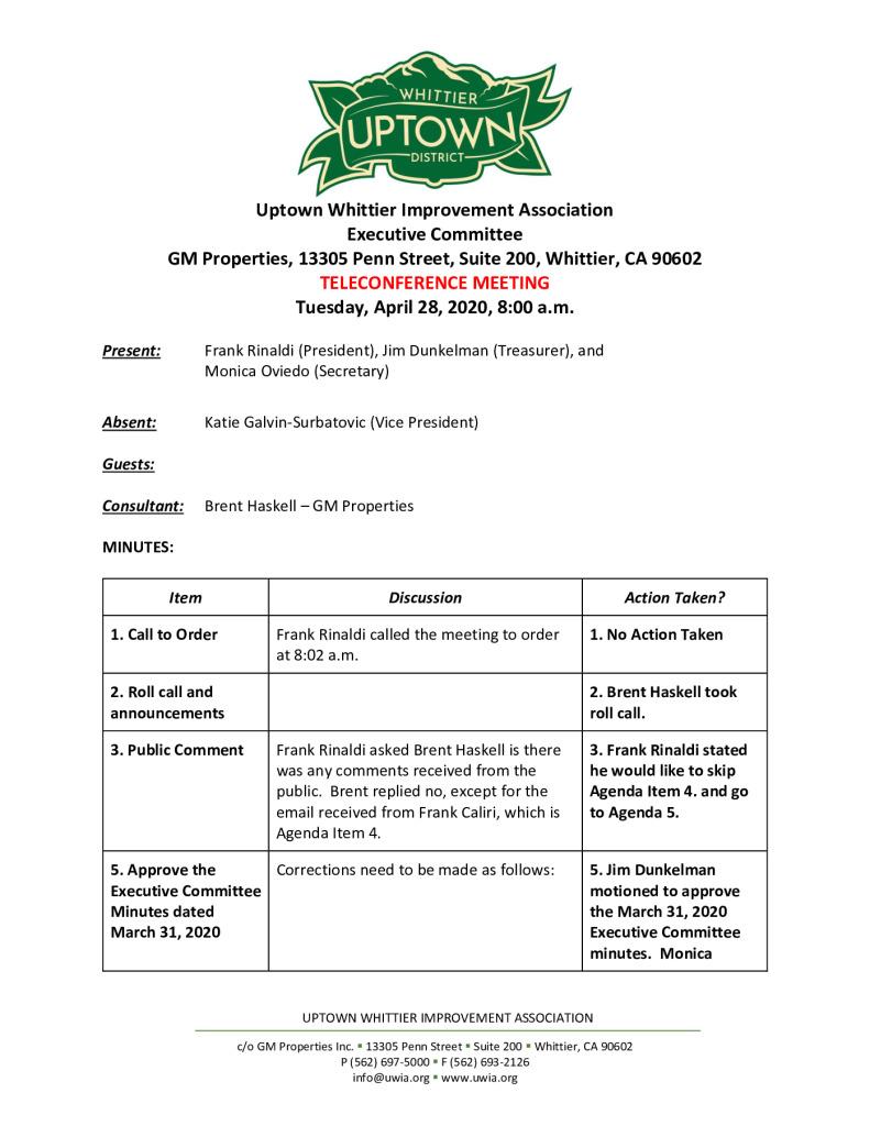thumbnail of UWIA Executive Committee Meeting Minutes 04-28-2020 final