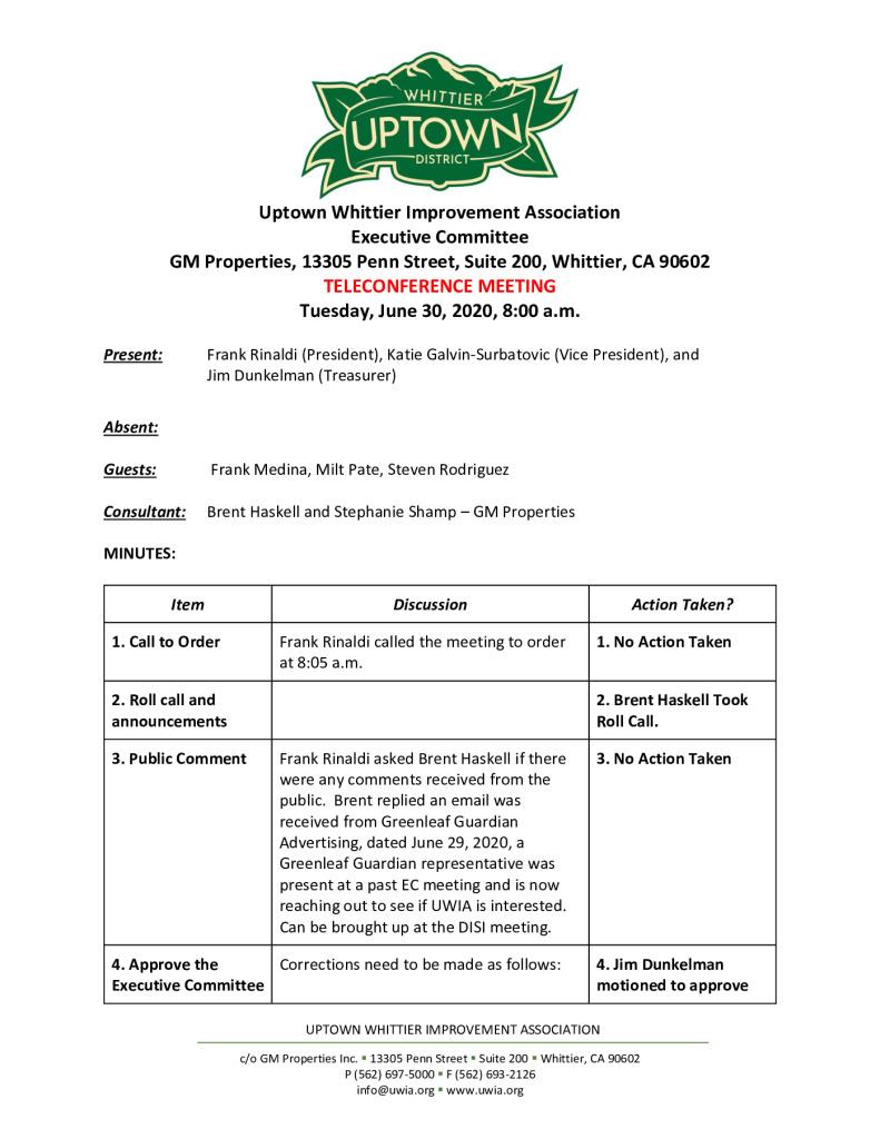 thumbnail of UWIA Executive Committee Meeting Minutes 06-30-2020 final