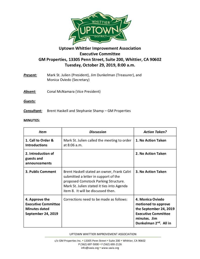 thumbnail of UWIA Executive Committee Meeting Minutes 10-29-2019 final
