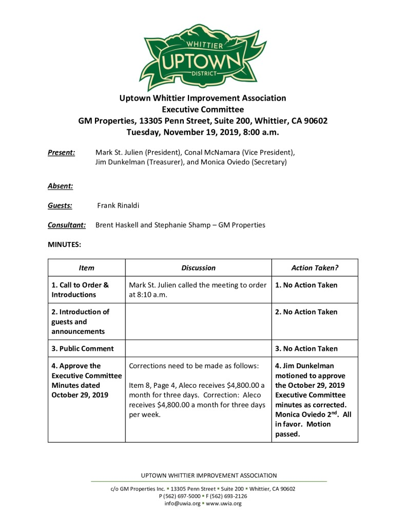 thumbnail of UWIA Executive Committee Meeting Minutes 11-19-2019 final