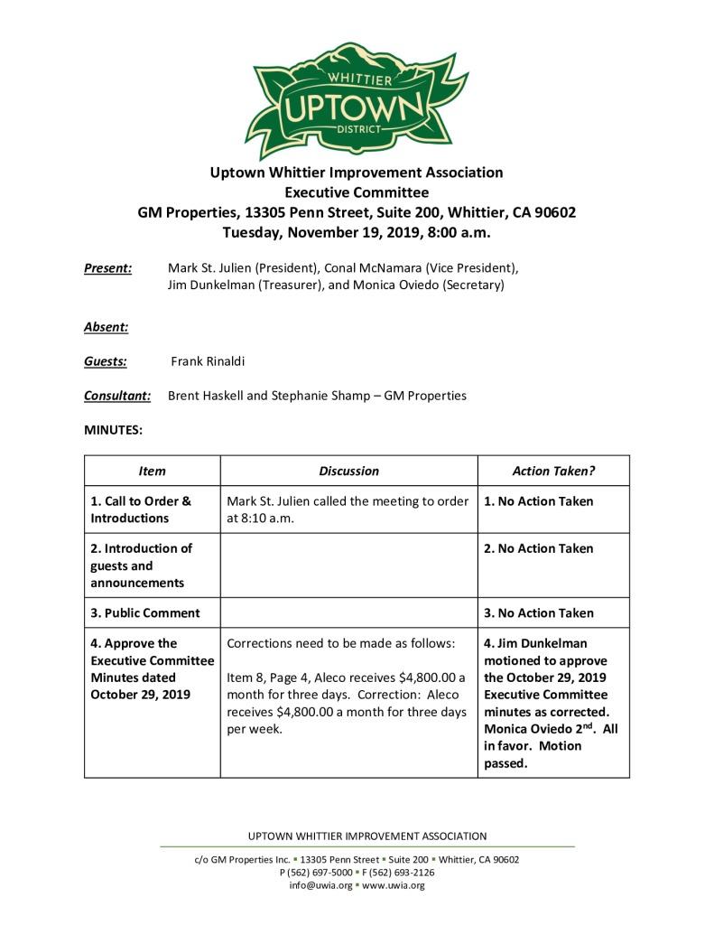 thumbnail of UWIA Executive Committee Meeting Minutes 11-19-2019 final