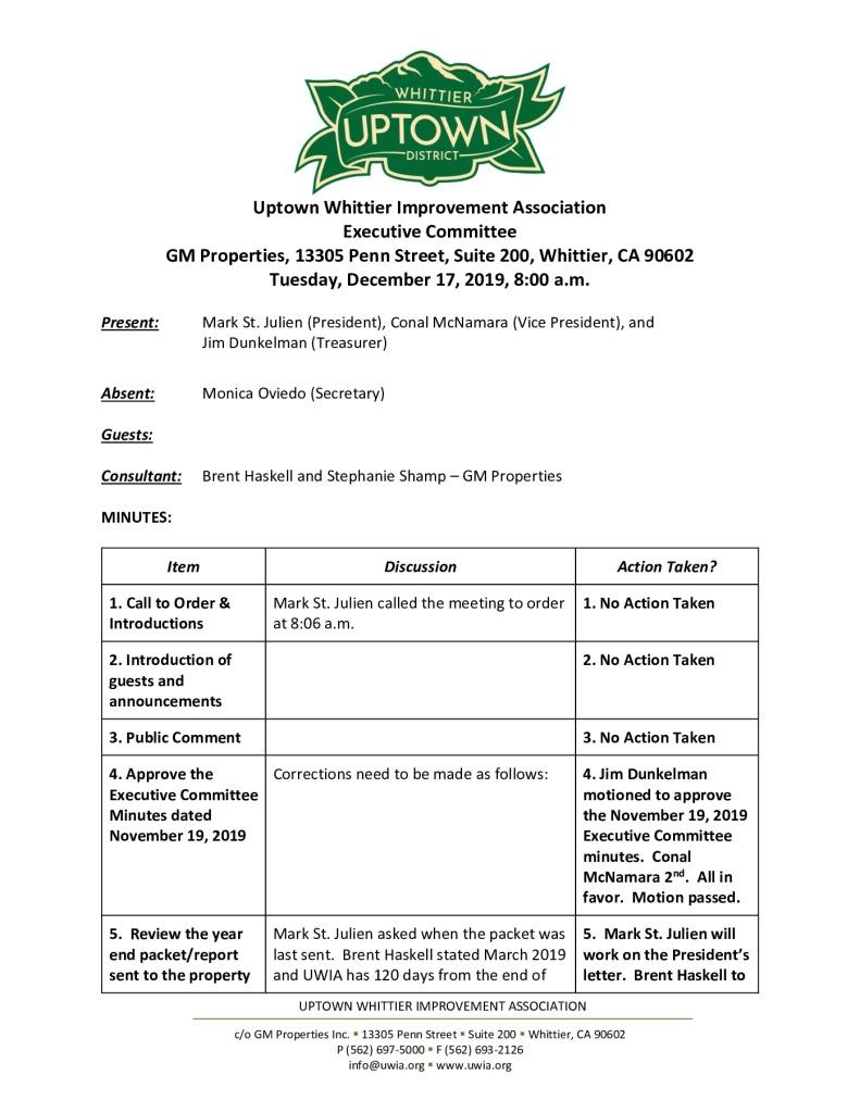 thumbnail of UWIA Executive Committee Meeting Minutes 12-17-2019 final