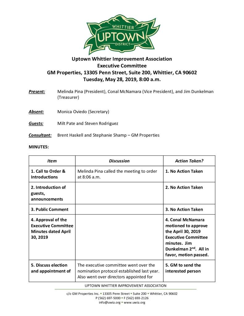 thumbnail of UWIA Executive Committee Minutes 05-28-2019 final