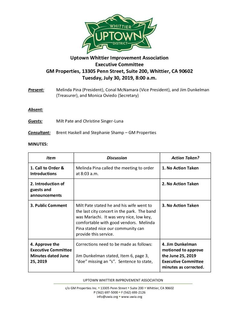 thumbnail of UWIA Executive Committee Minutes 07-30-2019 final