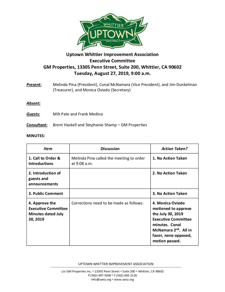 thumbnail of UWIA Executive Committee Minutes 08-27-2019 final
