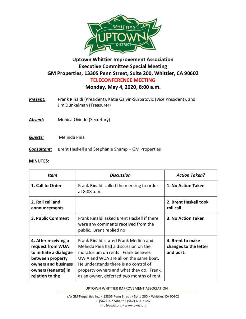 thumbnail of UWIA Executive Committee Special Meeting Minutes 05-04-2020 final