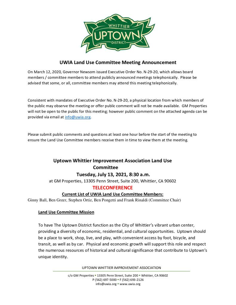 thumbnail of UWIA Land Use Committee Meeting Agenda Packet 07-13-2021