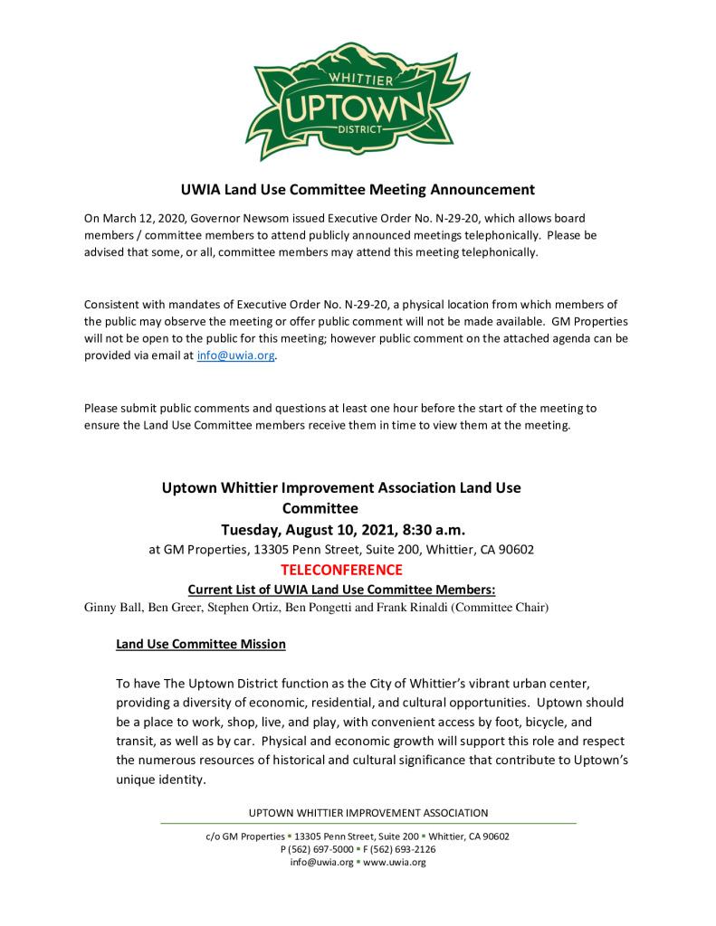 thumbnail of UWIA Land Use Committee Meeting Agenda Packet 08-10-2021