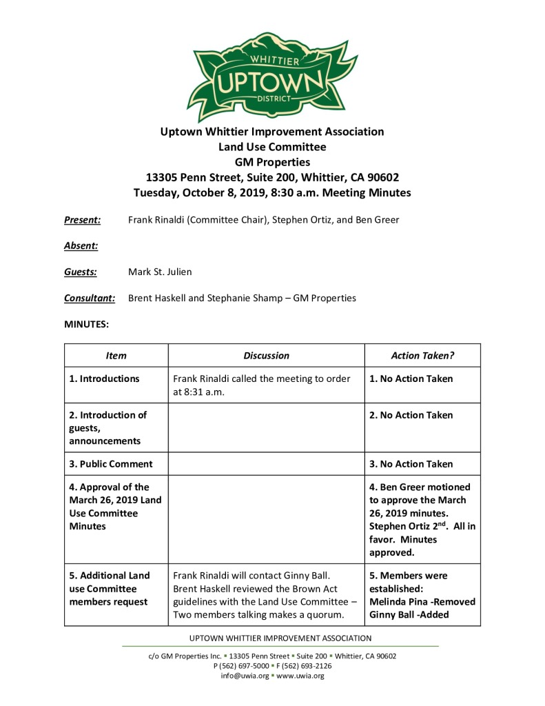 thumbnail of UWIA Land Use Committee Meeting Minutes 10-08-2019 final