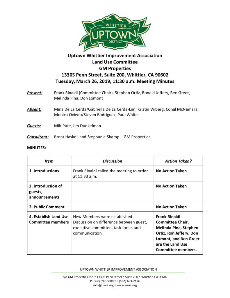thumbnail of UWIA Land Use Committee Minutes Prepared By Stephanie 03-26-2019 final