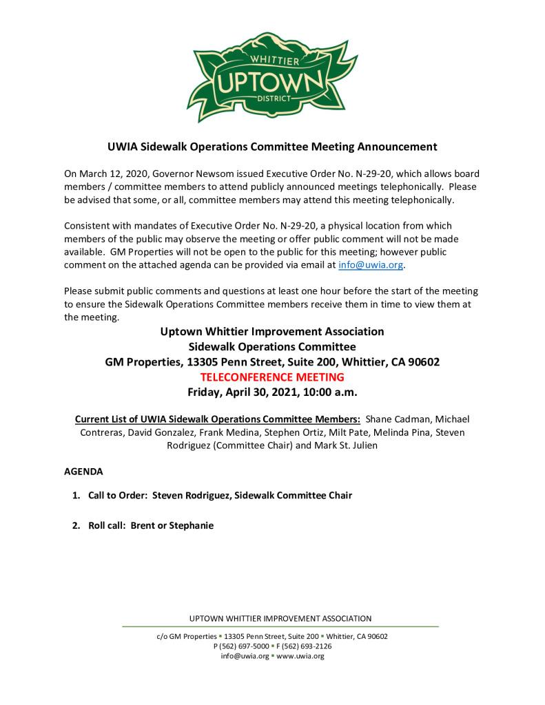 thumbnail of UWIA Sidewalk Operations Committee Meeting Agenda Packet 04-30-2021