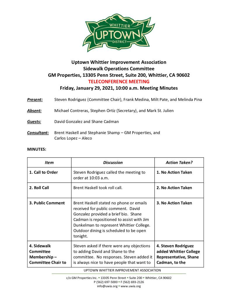 thumbnail of UWIA Sidewalk Operations Committee Meeting Minutes 01-29-2021 final