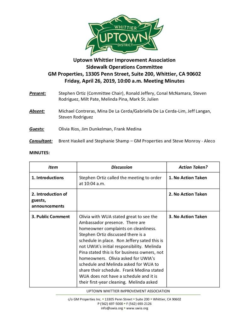 thumbnail of UWIA Sidewalk Operations Committee Meeting Minutes 04-26-2019