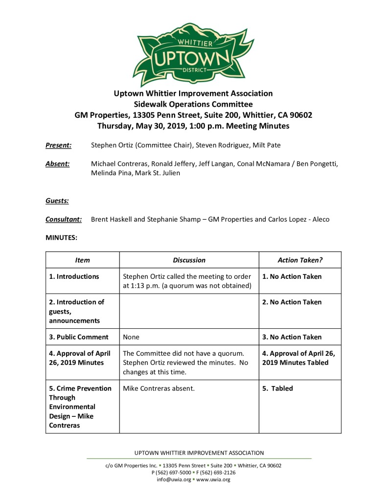 thumbnail of UWIA Sidewalk Operations Committee Meeting Minutes 05-30-2019