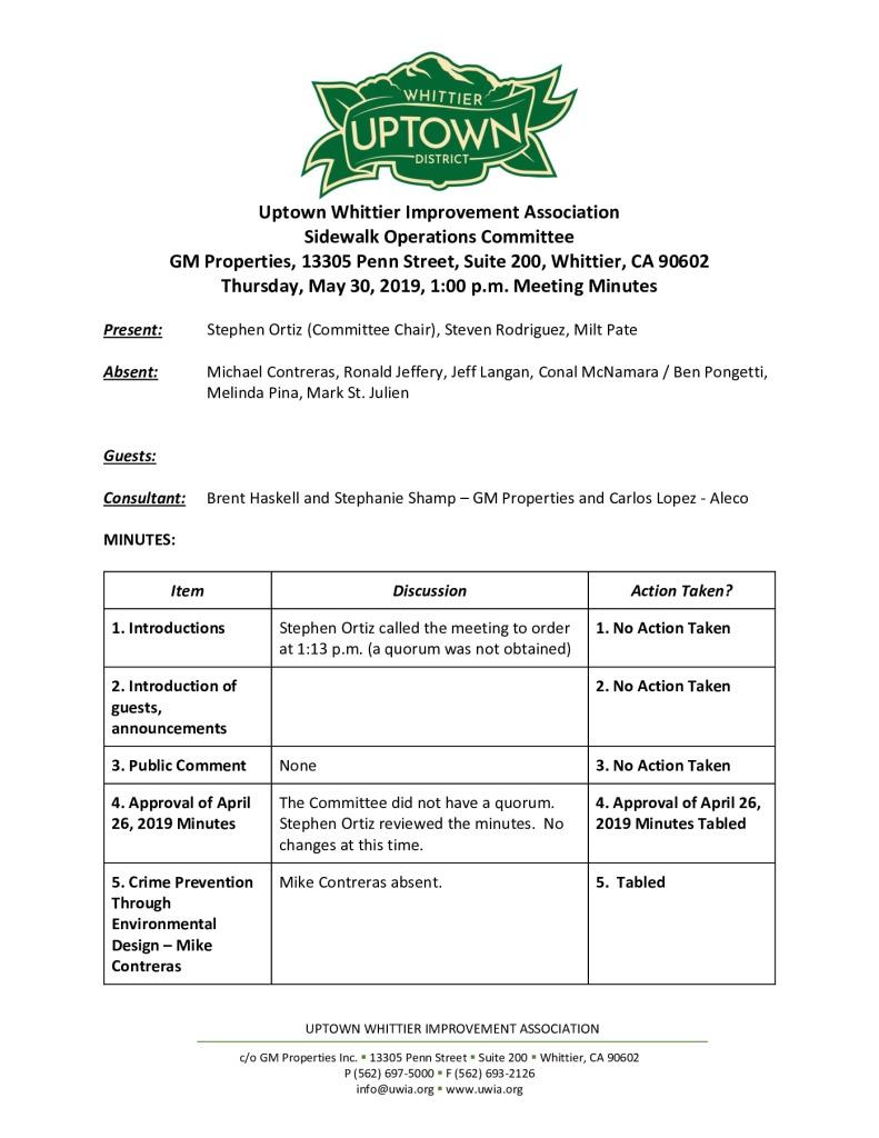 thumbnail of UWIA Sidewalk Operations Committee Meeting Minutes 05-30-2019