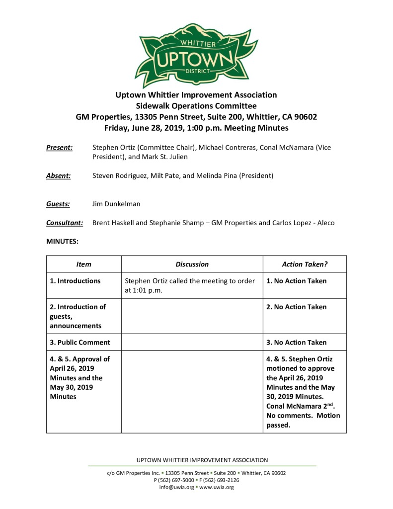 thumbnail of UWIA Sidewalk Operations Committee Meeting Minutes 06-28-2019 final