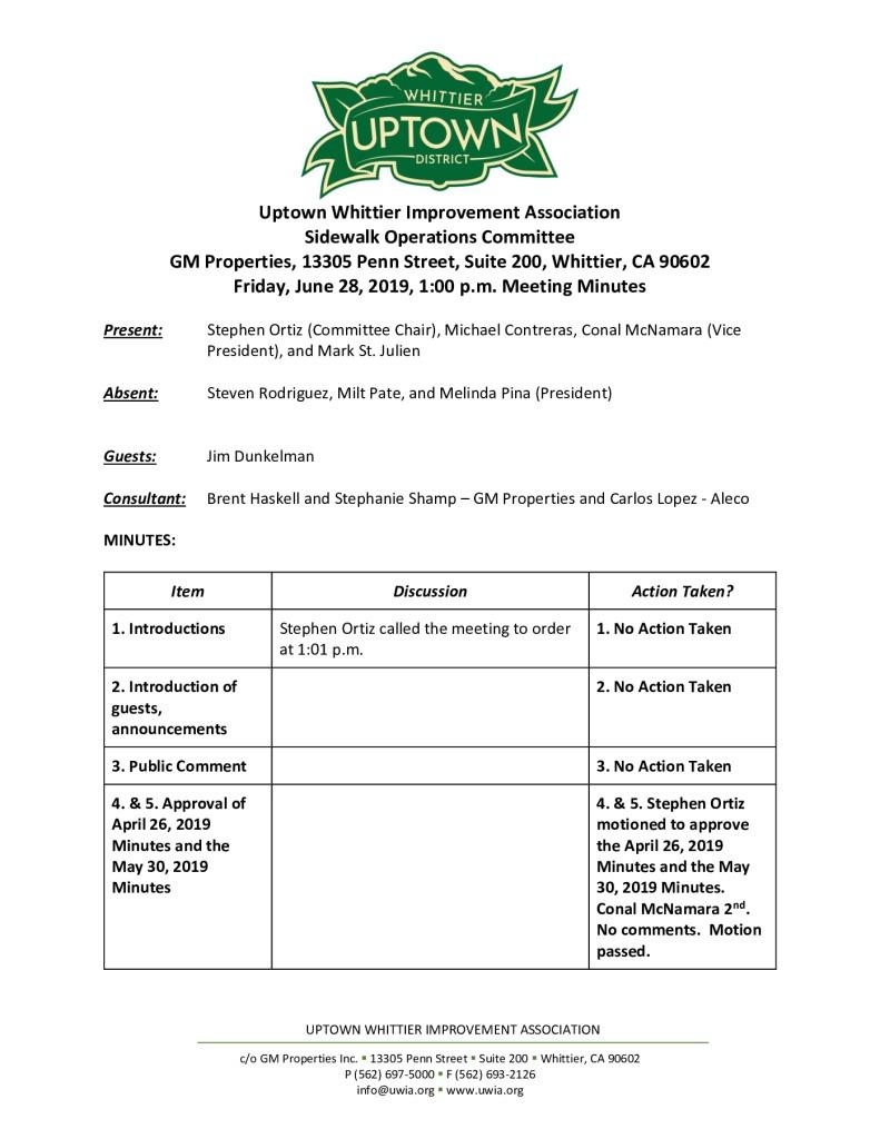 thumbnail of UWIA Sidewalk Operations Committee Meeting Minutes 06-28-2019 final