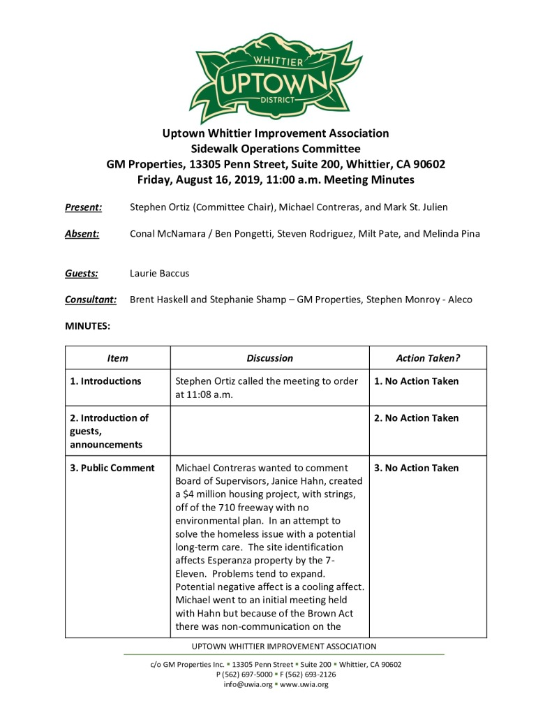 thumbnail of UWIA Sidewalk Operations Committee Meeting Minutes 08-16-2019 final