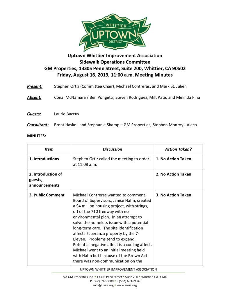 thumbnail of UWIA Sidewalk Operations Committee Meeting Minutes 08-16-2019 final