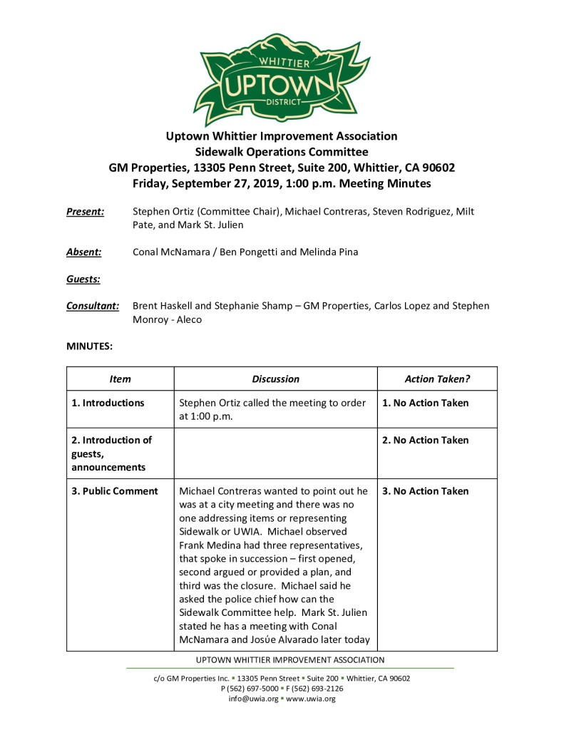 thumbnail of UWIA Sidewalk Operations Committee Meeting Minutes 09-27-2019 final