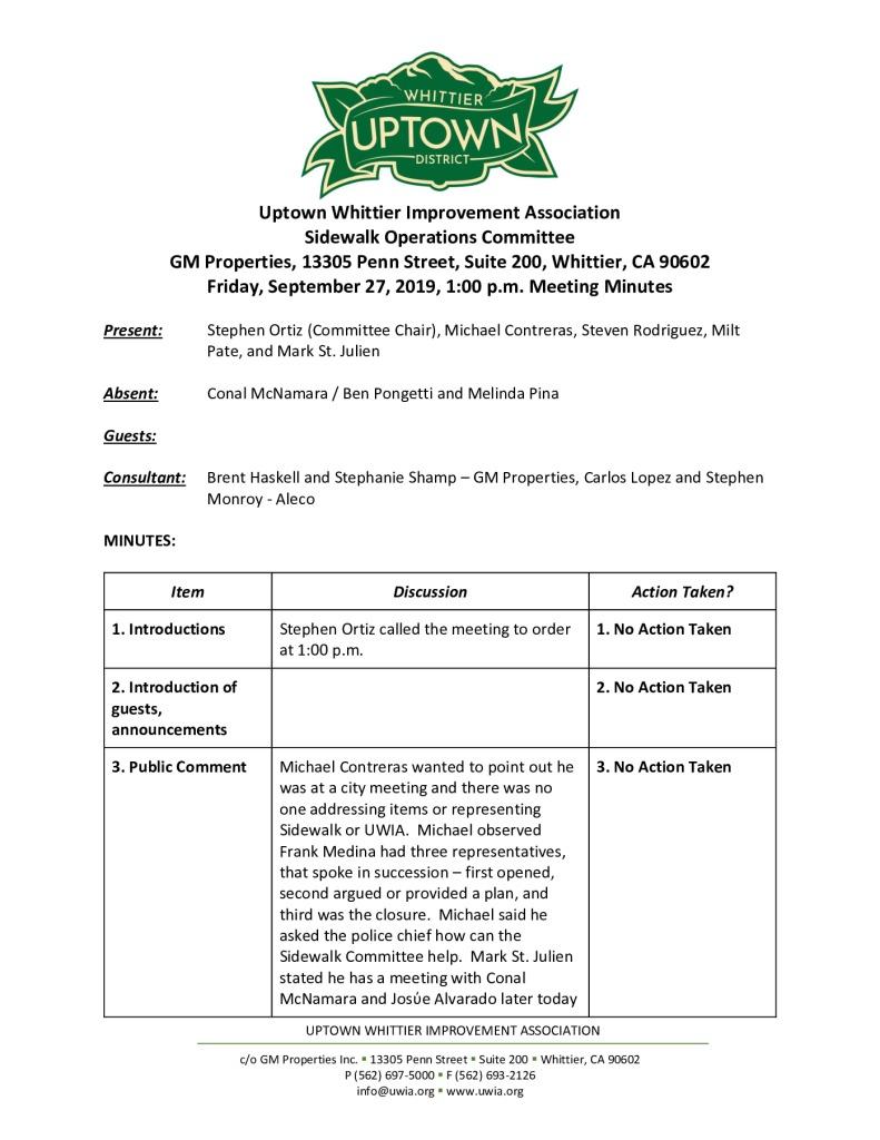 thumbnail of UWIA Sidewalk Operations Committee Meeting Minutes 09-27-2019 final