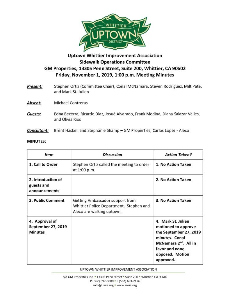 thumbnail of UWIA Sidewalk Operations Committee Meeting Minutes 11-01-2019 final