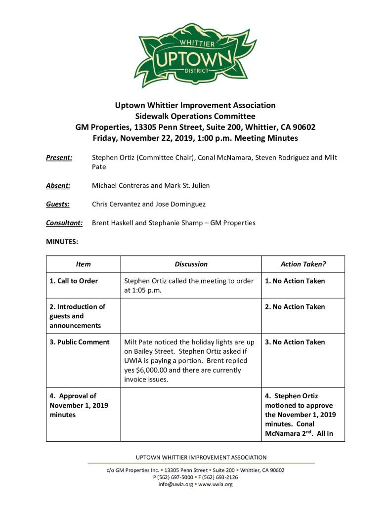 thumbnail of UWIA Sidewalk Operations Committee Meeting Minutes 11-22-2019 final