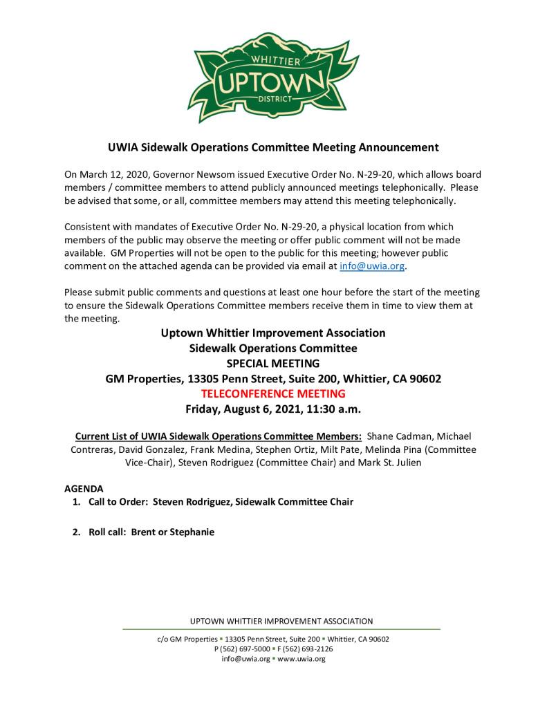 thumbnail of UWIA Sidewalk Operations Committee Special Meeting Agenda Packet 08-06-2021