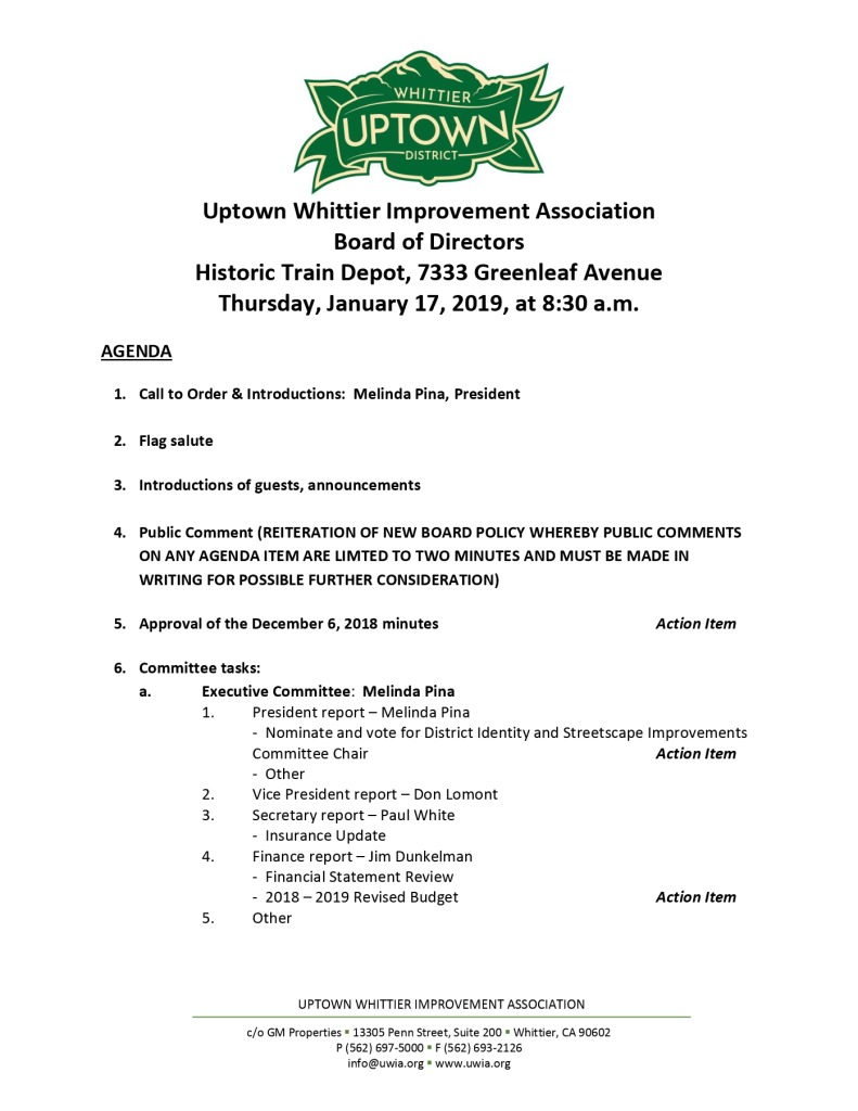 thumbnail of Board Meeting Agenda 01-17-2019