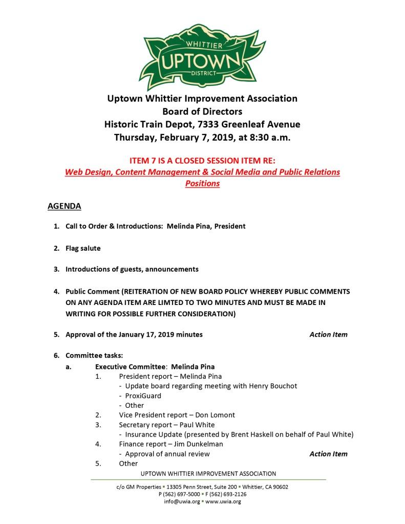 thumbnail of Board Meeting Agenda 02-07-2019
