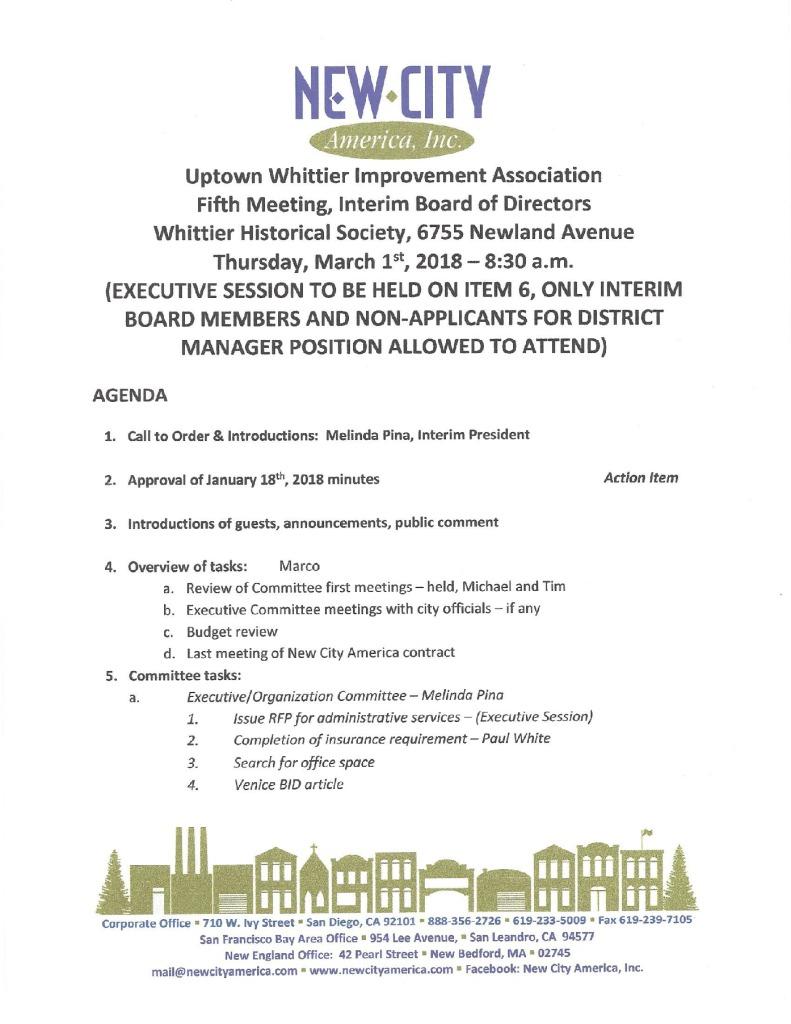 thumbnail of Board Meeting Agenda 03-01-2018
