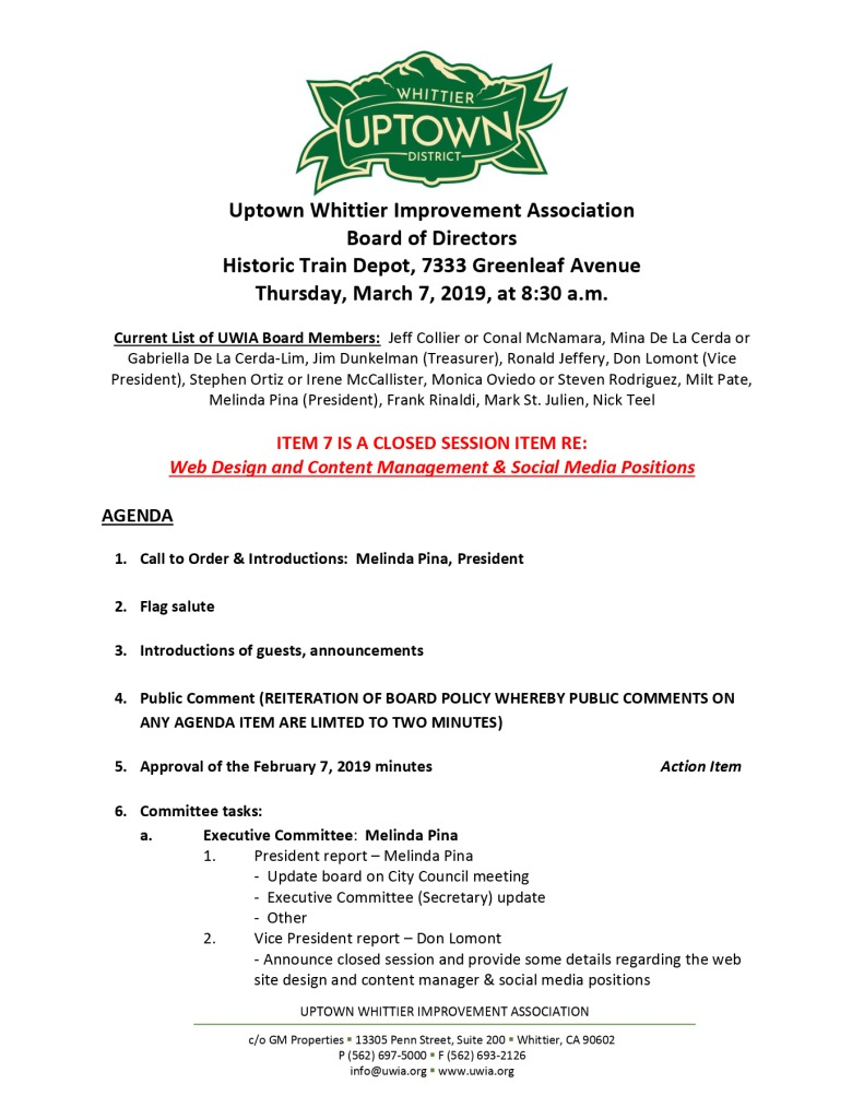 thumbnail of Board Meeting Agenda 03-07-2019