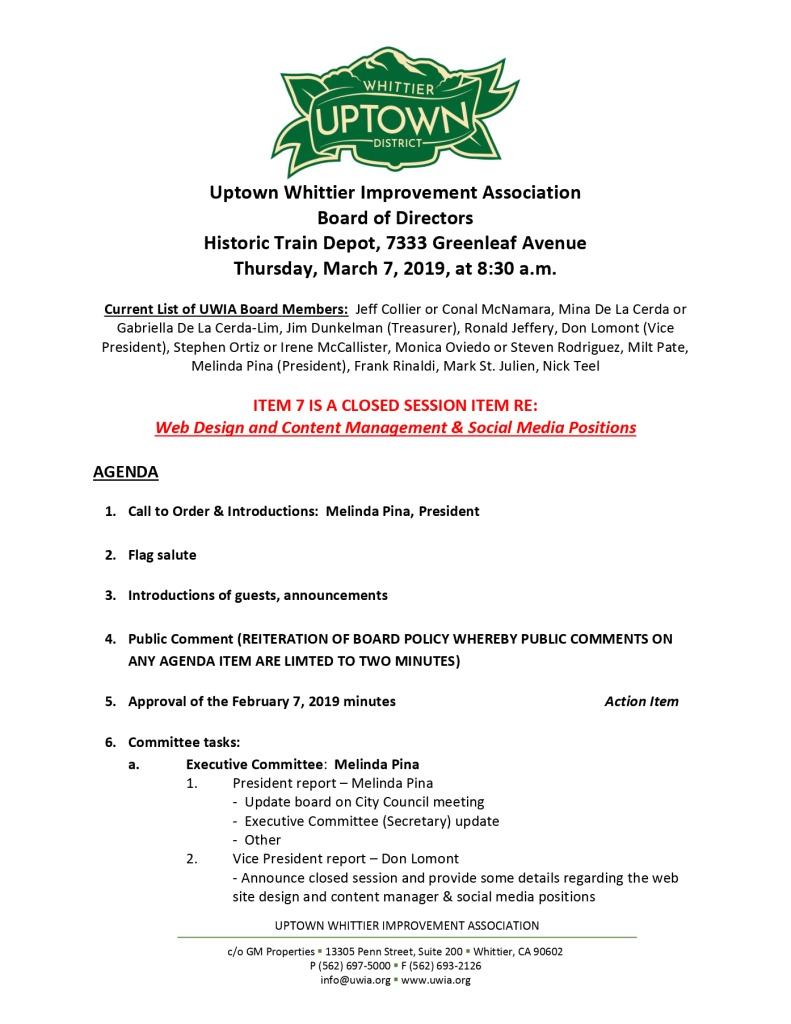 thumbnail of Board Meeting Agenda 03-07-2019